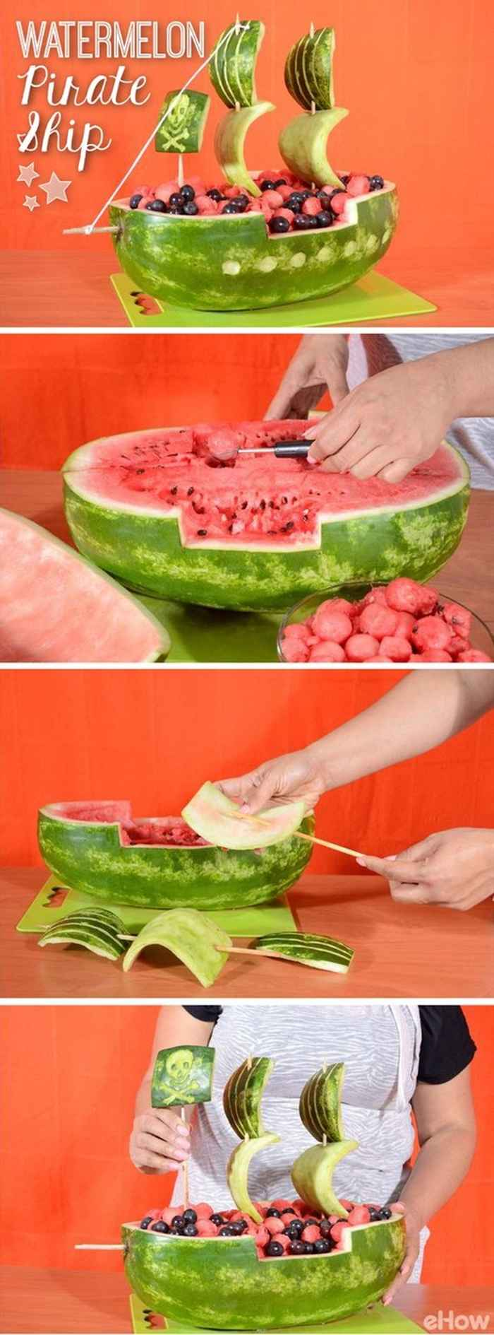 Watermelon Pirate Ship Carving Ideas