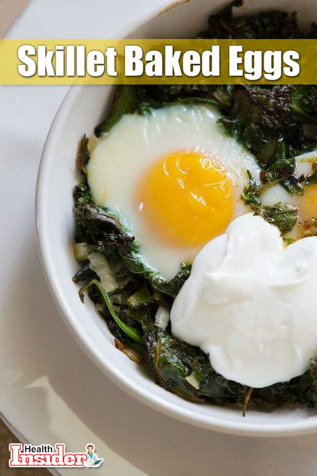 Skillet Baked Eggs with Spinach and Yogurt